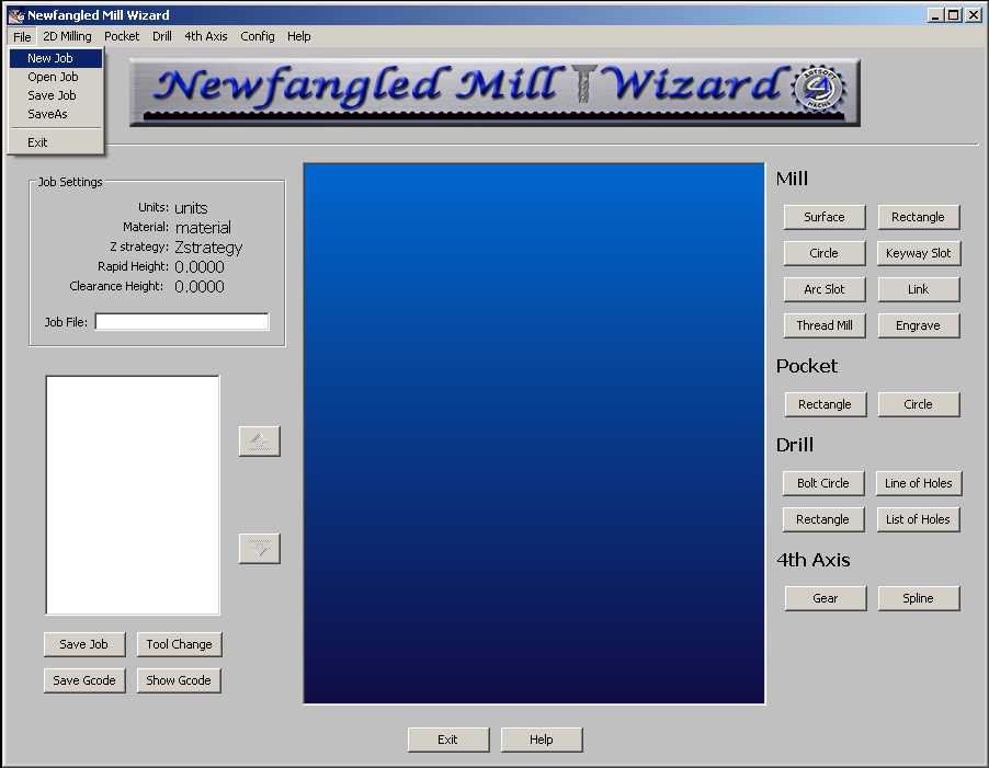 Main Screen with File menu