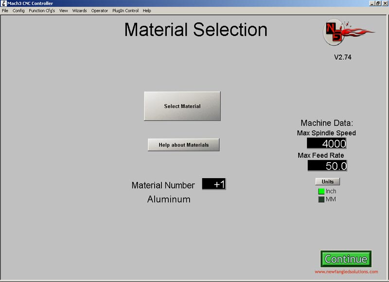 Material Selection Screen